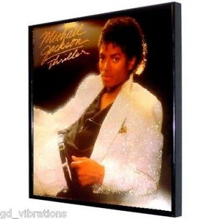 TOTE Glitter FRAMED LP Vinyl Album Cover MICHAEL JACKSON Thriller 84