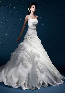 Best Sell Strapless Ivory Organza/Voile Bridal Wedding Dress Gown Lace