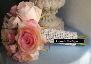 Silver Rhinestone Crystal Bouquet Holder Bling Wedding