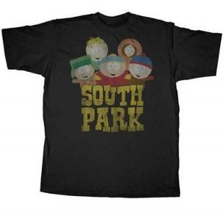 SOUTH PARK T SHIRT OLD SCHOOL GROUP CARTMAN STAN LICENSED ADULT MENS