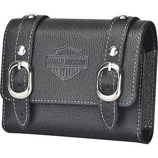 NEW Harley Davidson Black Leather Saddle Bag Case PHONE CAMERA GPS