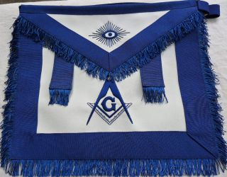 HAND EMBROIDED MASONIC MASTER MASON APRON DAX 02 WITH TABS, BF