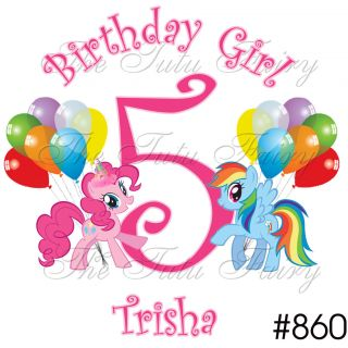 Pinkie Pie Pony Rainbow Dash Ponies Birthday Shirt name age