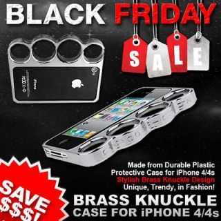 Trendy SILVER Brass Knuckle Protective Case iPhone 4 BLACK FRIDAY DEAL