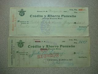 Vintage 1920s Checks Bank Credito y Ahorro Ponce Puerto Rico, Scarce