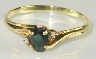 Estate .50ct Natural Oval Cut Blue Sapphire & Diamond 10k Yellow Gold