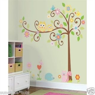 64 Scroll Tree Owl Wall 80 Decals Baby Nursery Removable Stickers