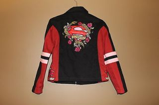 girl NASCAR Racing embroidered studs twill cotton jacket womens XS