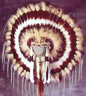 Native American Navajo War Bonnet Headdress 36 diameter DESERT BROWN