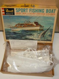 Vintage Revell Sport Fishing Boat Deep Sea luxury Cruiser Model Kit 60