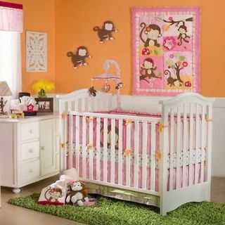 Monkey Baby Girl Jungle Tree Bright Nursery Decor 5pc Crib Bedding Set