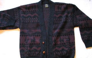 TEJIDOS RUMINAHUI Mens XL BURGUNDY BLACK heavy 100% WOOL CARDIGAN