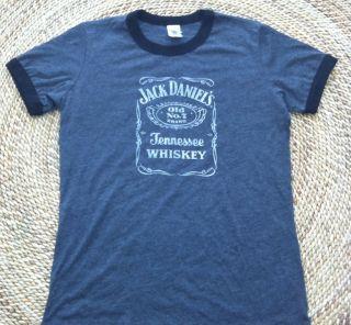 JACK DANIELS Old No. 7 Womens Sz Small Crew Neck Ringer T Shirt