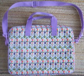 PAPERCHASE PADDED LAPTOP BAG   PEAR PRINT   MAUVE, PURPLE & WHITE