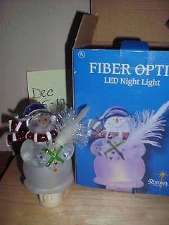 Roman Lights Fiber OPtic Christmas Snowman LED Night Light