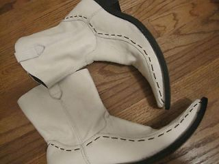 PERCO WHITE LEATHER MENS COWBOY WESTERN FASHION BOOTS POINT TOE ZIP