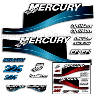 Mercury 225hp Outboard Decal Kit Blue or Red Available