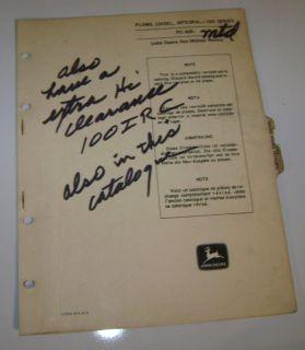 John Deere 100I (112 I) Chisel Plow Parts Catalog book