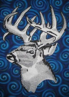 HUGE White tail Mule Deer Buck Stag Deer Head Outline Iron on Patch