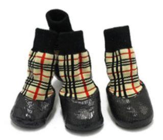 Waterproof Dog Socks Non Slip S M L XL Tartan   Puppy Cat Pet Shoes