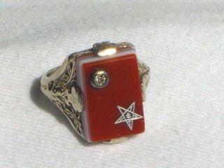 14K WHITE GOLD ART DECO FILIGREE MASONIC EASTERN STAR RING W/ DIAMOND