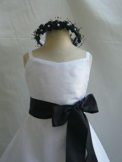 NEW WHITE BLACK WEDDING DAVIDS BRIDESMAID FLOWER GIRL DRESS 1 2 4 6 8
