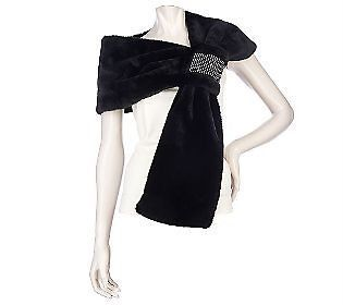 NEW DENNIS BASSO Black Faux Fur Shawl Wrap W/Crystal Cuff $90