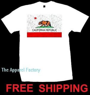 New Mens CALIFORNIA REPUBLIC FLAG White T Shirt S 3XL