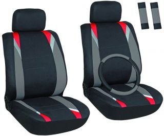 , Gray, Black Front Car Seat Cover Set Bucket Chairs with Wheel Cover