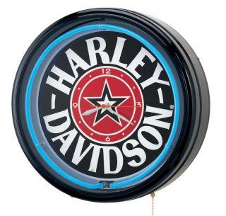 Harley Davidso n Fat Boy Star w/Blue Neon Clock , HDL 10153