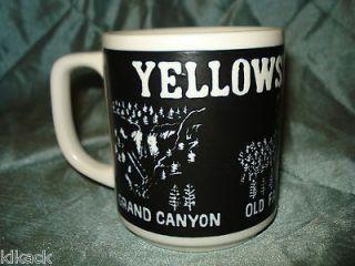 Yellowstone Park Mug Grand Canyon Old Faithful Bear & Cubs Black White
