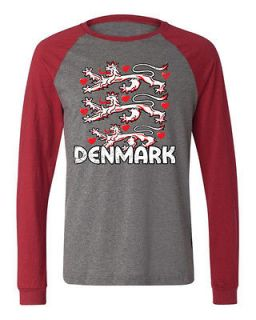Denmark Coat Of Arms Crest Long Sleeve Baseball T shirt Olympic Game