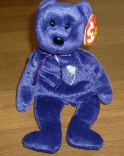 TY original beanie baby PRINCESS of Wales, Diana   Purple Bear   1997