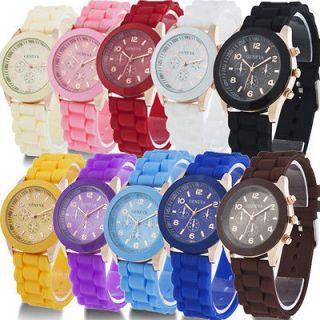 Silicone Crystal Lady Jelly Gel Quartz Analog Sports Wrist Watch