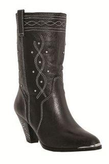 Dingo Womens Kristen Black Rhinestone Cowboy Boot