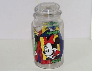 Disney Mickey Mouse Minnie Donald Duck Glass Candy Jar Cookies Snacks