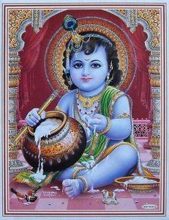 Lord Krishna Baby KRISHNA   Glitter POSTER   9x11 (#9535)
