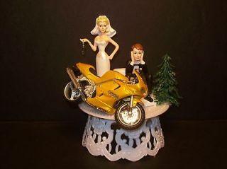 MOTORCYCLE TRIUMPH 955i Daytona Bike Got the Key WEDDING CAKE TOPPER