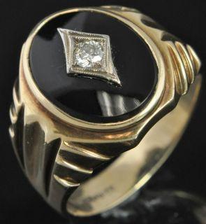 Bros Antique Two Tone 10K Gold Art Deco Onyx Diamond Mens Ring Sz 11.5