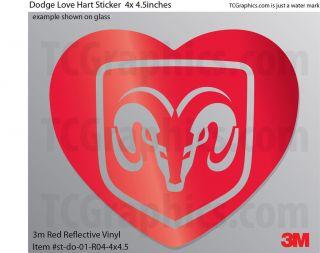 Dodge Heart Love sticker 3m Reflective Vinyl