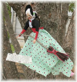 kitchen witch, Potter style, Wiccan Doll Handmade, ladybugs, black