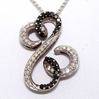 Black White Diamond Open Heart Pendant/Necklace Sterling Silver 18