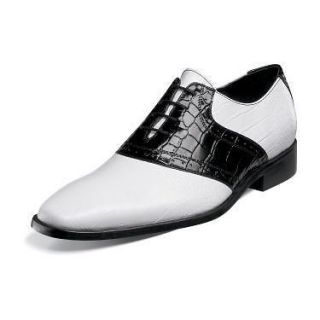 Stacy Adams Cassius Mens Leather Dress Shoes Black/White 24728