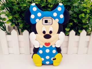 3D Disney Blue Minnie Mouse Rubber Case Cover For Samsung Galaxy S2