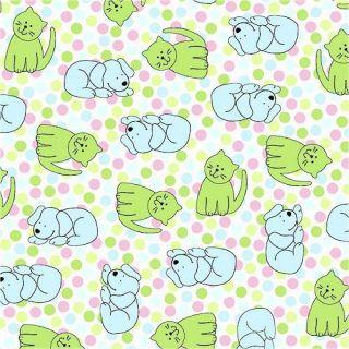 Cute Polka Dot Pets Dogs Cats Print Fleece Fabric 26247