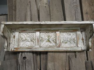 Antique distressed wall shelf, shabby style, antique ceiling tin