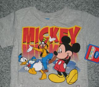 Girls Mickey Mouse Goofy Donald Duck Short Sleeve T shirt Grey NEW