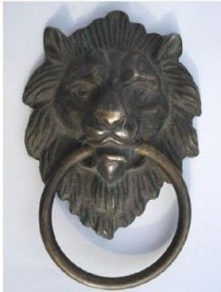 Chinese Bronze Fierce Lion Head Door Knocker 4.4High