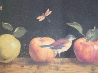 Wallpaper Border Apples Fruits Bird Dragonflies Vintage Black Red