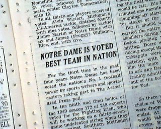 NOTRE DAME Fighting Irish COLLEGE FOOTBALL National Champions 1949 Old
